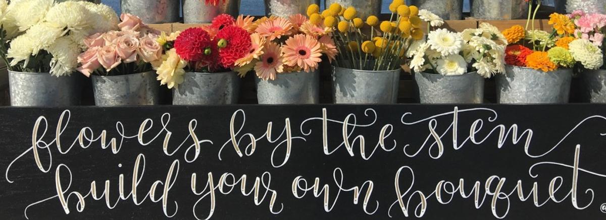 Flower bar at wedding reception